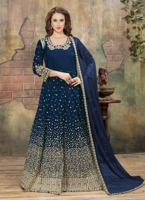 Reception Wear Navy Blue Tapeta Silk Heavy Embroidery Work Anarkali Style