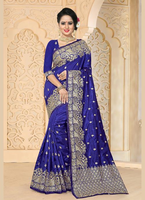 Reception Wear Neavy Blue Art Silk Embroidery Work Saree