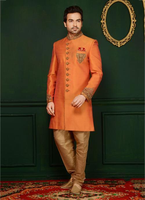 Reception Wear Orange Banarasi Silk Embroidery Work Sherwani Style