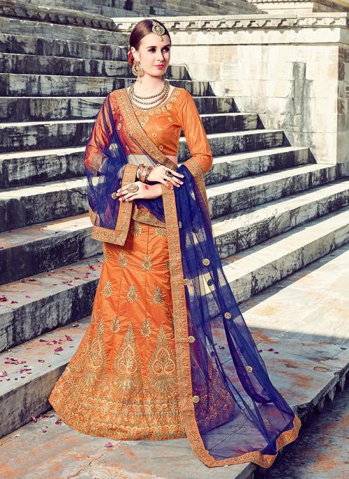 Reception Wear Orange Silk Heavy Multi Embroidery Work Lehenga Choli