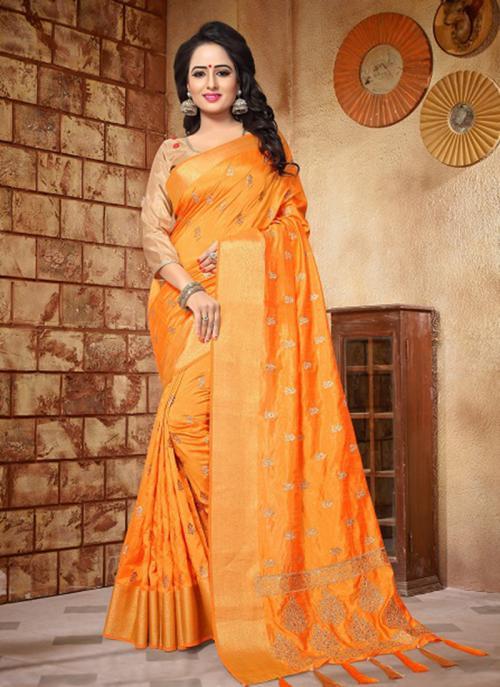 Reception Wear Orange Silk Zari Butti Work Saree