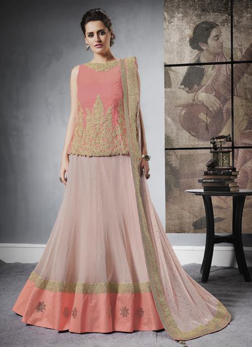 Reception Wear Peach Jacqaurd Sequins Work Lehenga Choli
