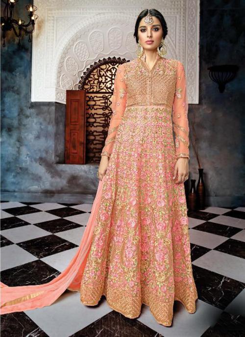 Reception Wear Peach Net Heavy Embroidery Work Anarkali Style