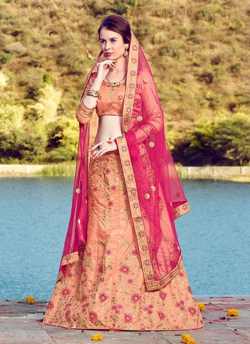 Reception Wear Peach Silk Heavy Multi Embroidery Work Lehenga Choli