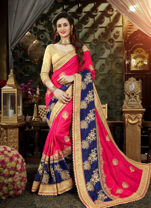 Reception Wear Pink Art Silk Multi Embroidery Work Saree