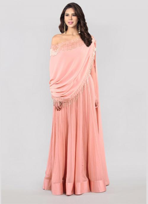 Reception Wear Pink Georgette Embroidery Work Ridhi Mehra Designer Anarkali Suit