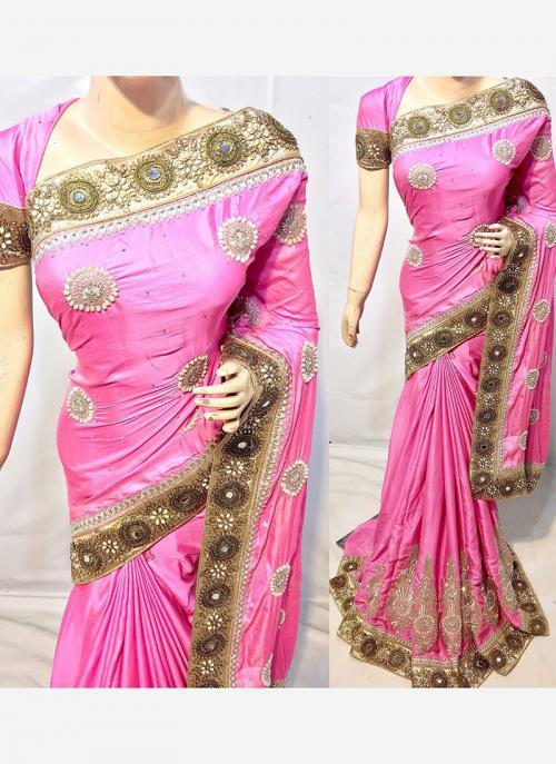 Reception Wear Pink Georgette Heavy Embroidery Work Saree