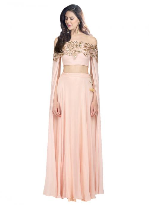 Reception Wear Pink Georgette Satin Sequins Work Prathyusha Garimella Designer Crop Top With Skirt