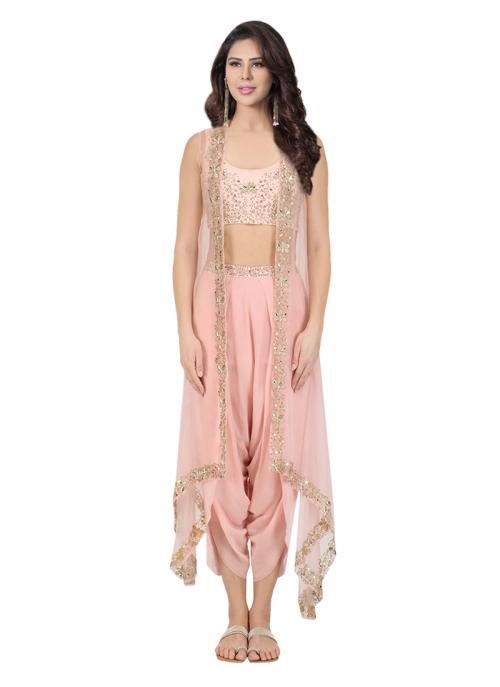 Reception Wear Pink Georgette Sequins Work Sana Barreja Cape And Pants
