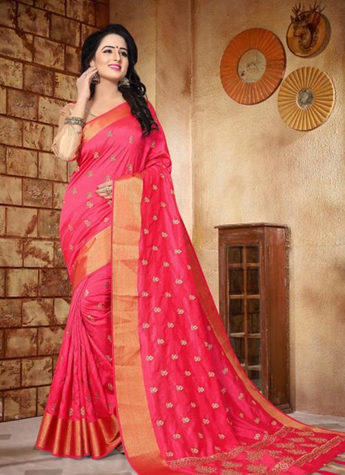 Reception Wear Pink Silk Zari Butti Work Saree