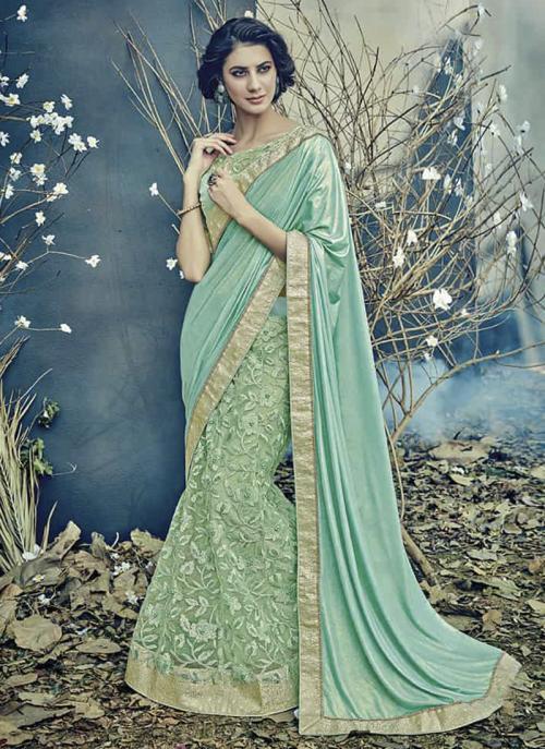 Reception Wear Pista Green Lycra Net Embroidery Work Saree