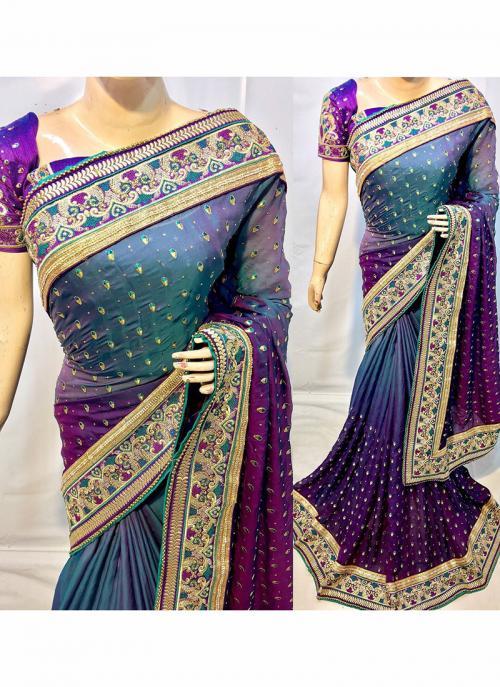 Reception Wear Purple Silk Heavy Embroidery Work Saree