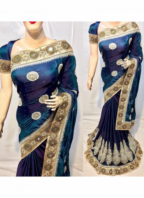 Reception Wear Rama Georgette Satin Heavy Embroidery Work Saree
