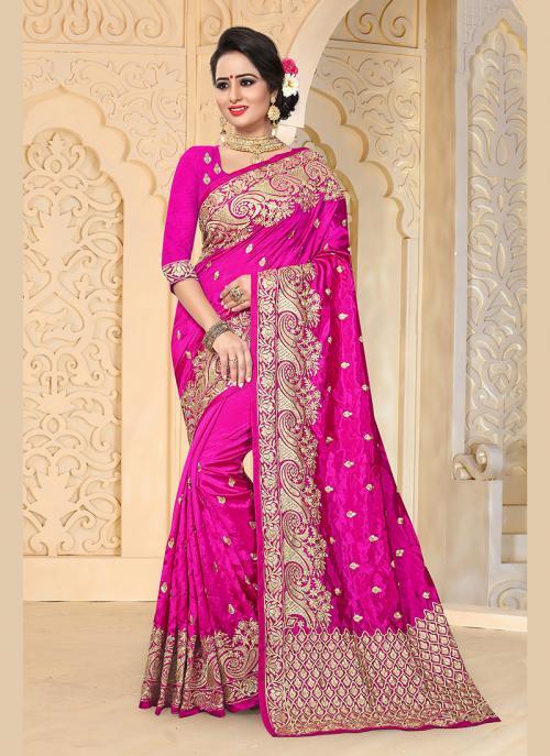 Reception Wear Rani Art Silk Embroidery Work Saree