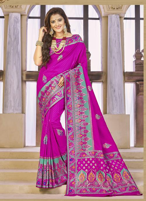 Reception Wear Rani Banarasi Silk Zari Work Saree