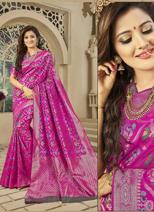 Reception Wear Rani Banarasi Silk Zari Work Saree