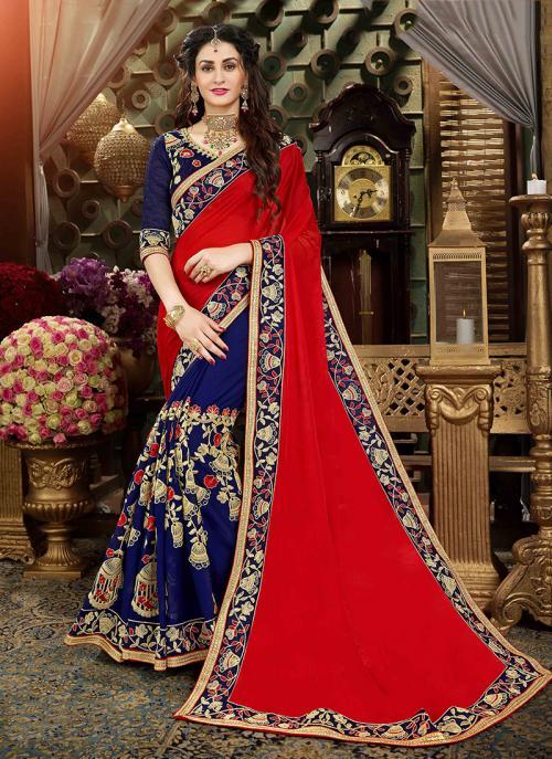Reception Wear Red Art Silk Multi Embroidery Work Saree