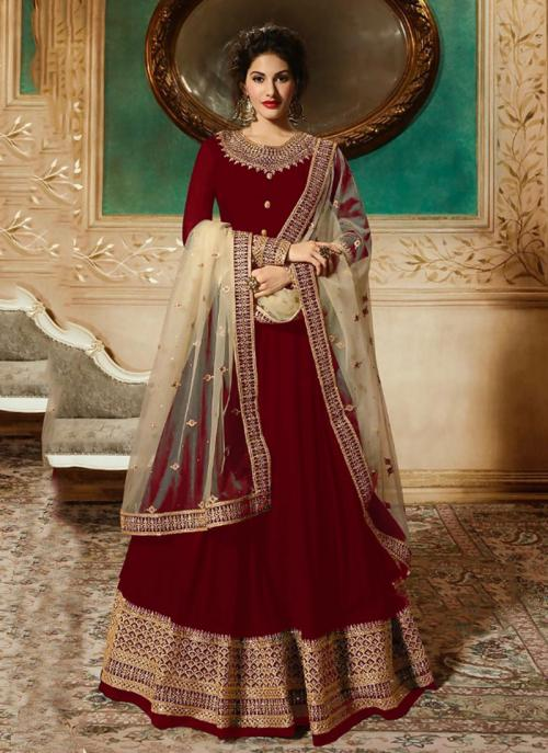 Reception Wear Red Faux Georgette Embroidery Work Anarkali Style