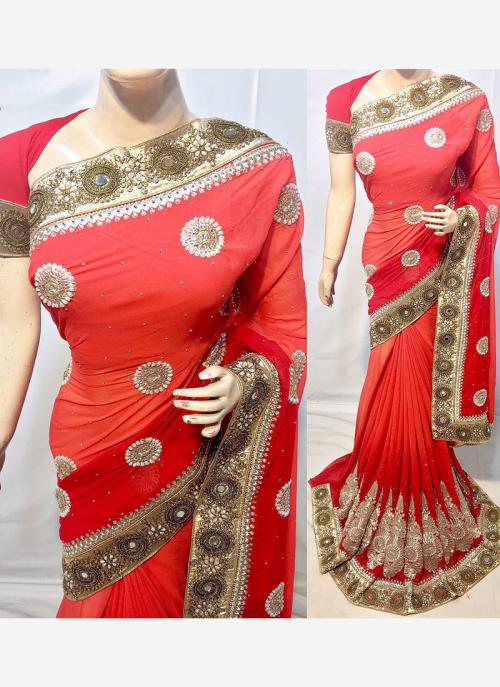 Reception Wear Red Georgette Heavy Embroidery Work Saree