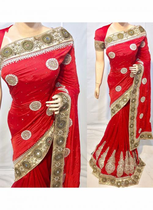 Reception Wear Silk Heavy Embroidery Work Red Saree