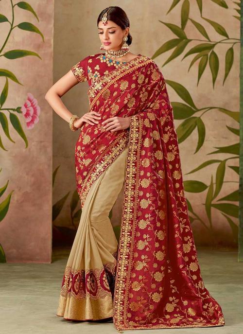 Reception Wear Red Silk Thread Work Saree