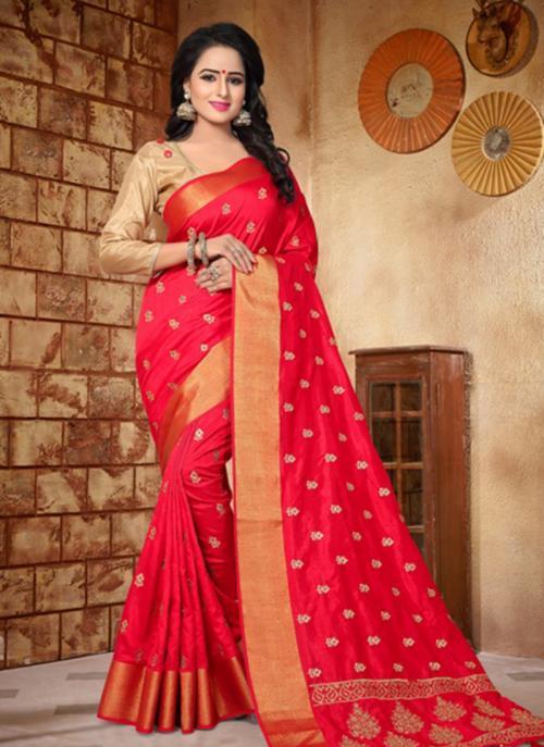 Reception Wear Red Silk Zari Butti Work Saree