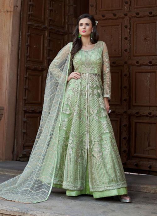 Reception Wear Sea Green Net Heavy Embroidery Work Anarkali Style