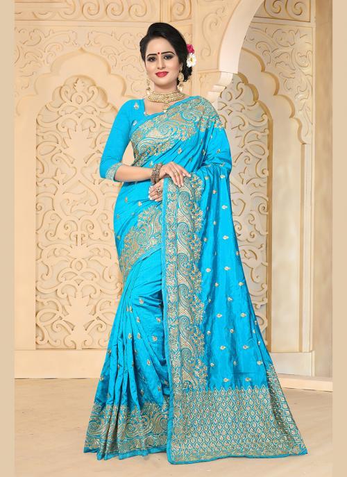 Reception Wear Sky Blue Art Silk Embroidery Work Saree
