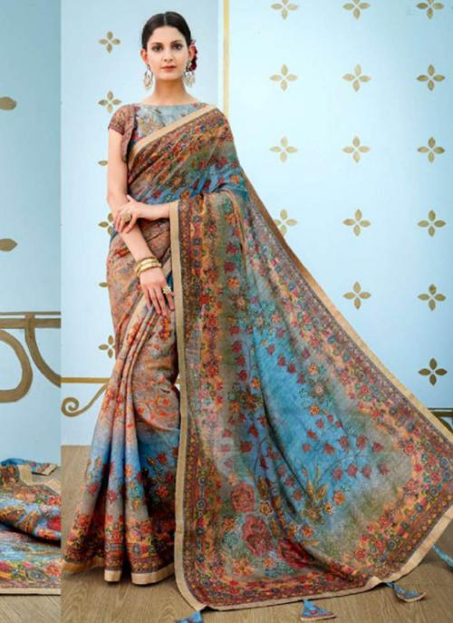 Reception Wear Sky Blue Banarasi Silk Digital Print Saree