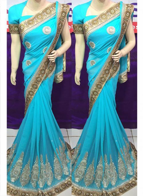 Reception Wear Georgette Heavy Embroidery Work Sky Blue Saree