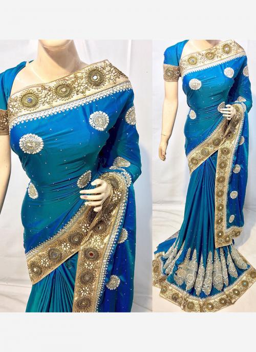 Reception Wear Sky Blue Georgette Embroidery Work Saree