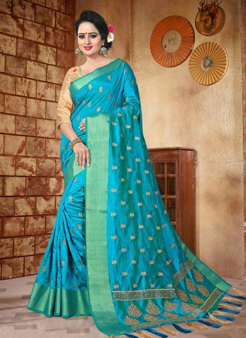 Reception Wear Sky Blue Silk Zari Butti Work Saree