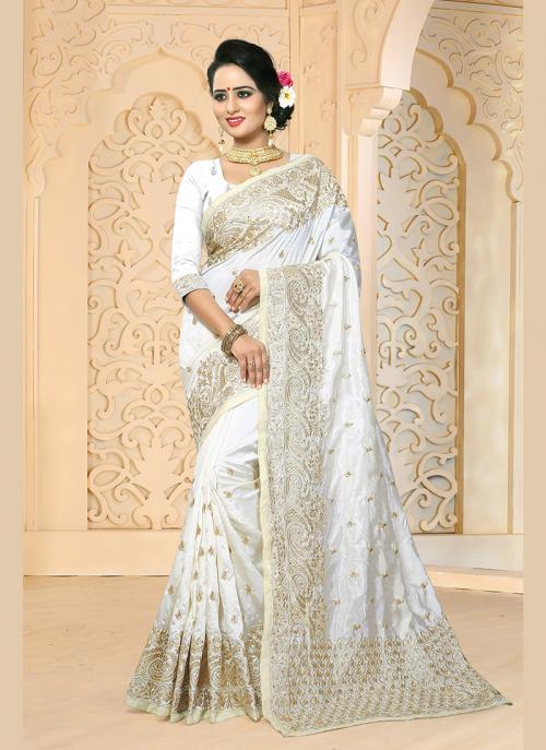 Reception Wear White Art Silk Embroidery Work Saree