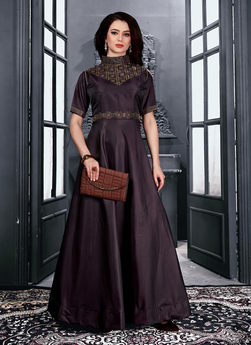 Reception Wear Wine Tapeta Satin Hand Work Gown
