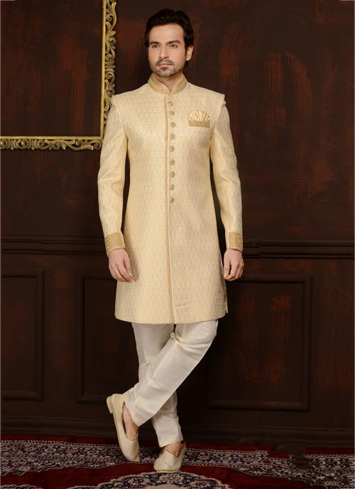 Reception Wear Yellow Banarasi Silk Embroidery Work Sherwani Style