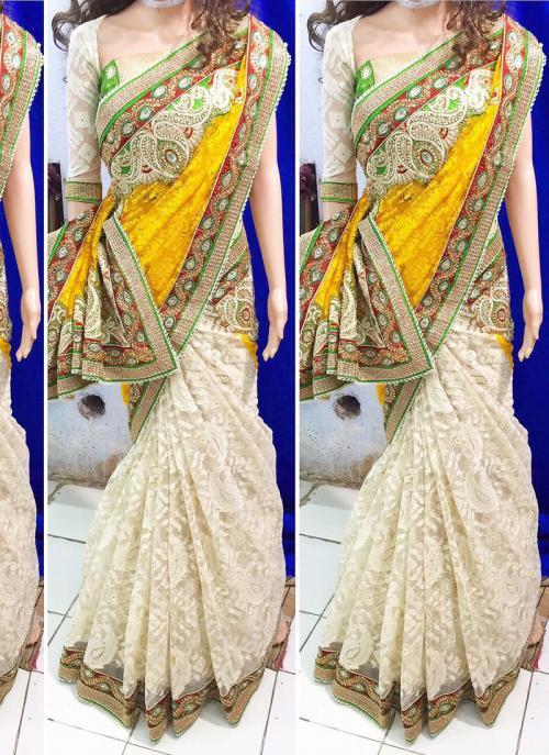 Reception Wear Yellow Brasso Heavy Embroidery Work Saree