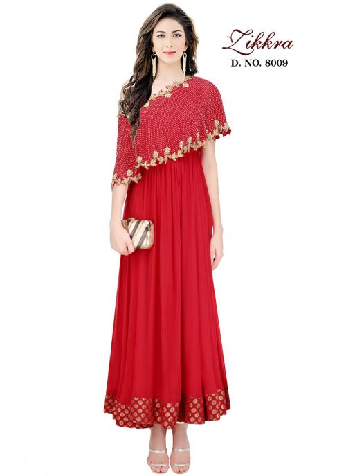 Party Wear Red Crepe Embroidered Work Gown