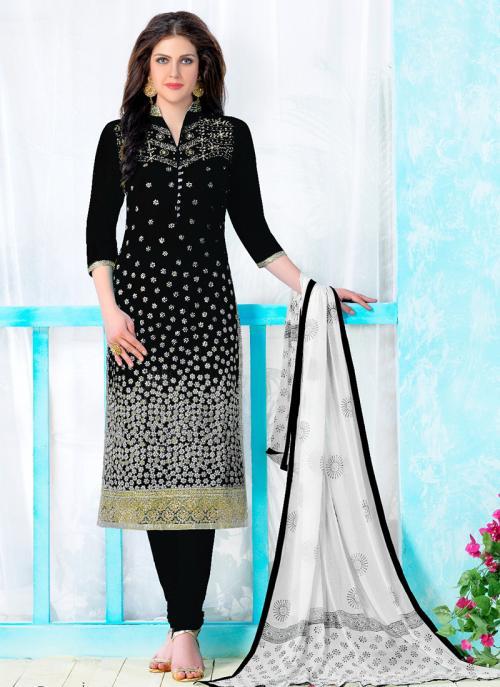 Regular Wear Black Cotton Embroidery Work Churidar Suit