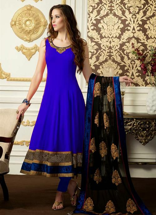 Regular Wear Blue Satin Embroidery Work Anarkali Suit