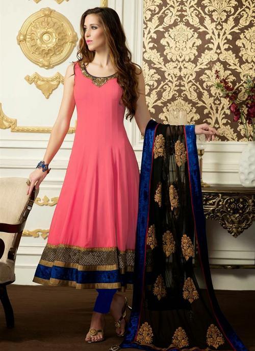 Regular Wear Gajri Satin Embroidery Work Anarkali Suit