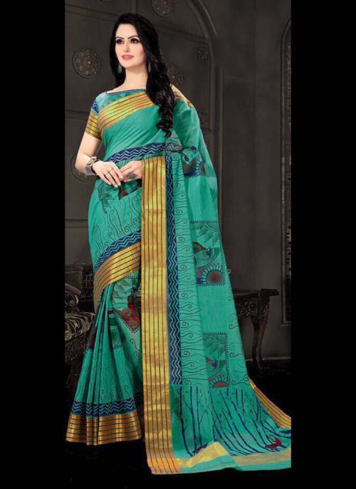 Regular Wear Green Cotton Silk Embroidery Work Saree
