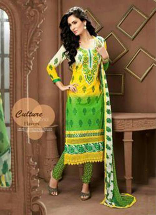 Regular Wear Green Georgette Embroidery Work Churidar Style