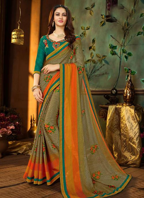 Regular Wear Green Rangoli Georgette Printed Work Saree