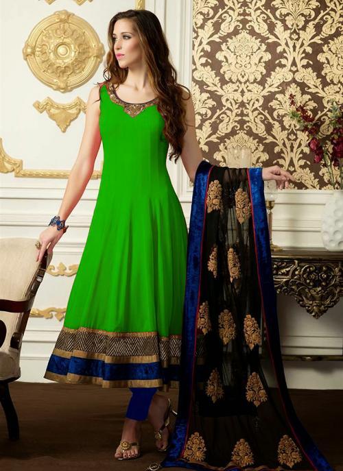 Regular Wear Green Satin Embroidery Work Anarkali Suit