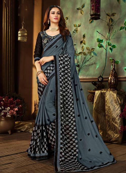 Regular Wear Grey Rangoli Georgette Printed Work Saree