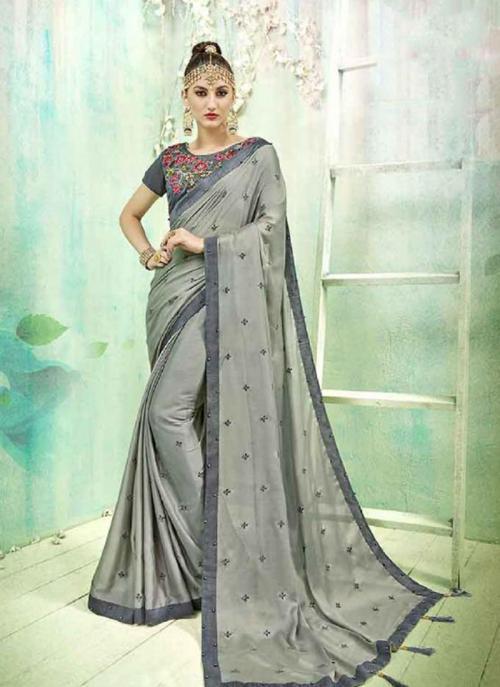 Regular Wear Grey Silk Butti Work Saree