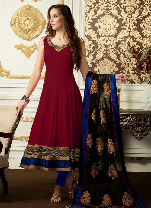 Regular Wear Maroon Satin Embroidery Work Anarkali Suit