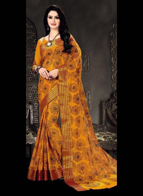 Regular Wear Orange Cotton Silk Embroidery Work Saree