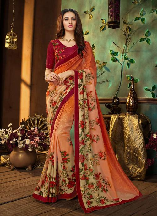 Regular Wear Orange Rangoli Georgette Printed Work Saree