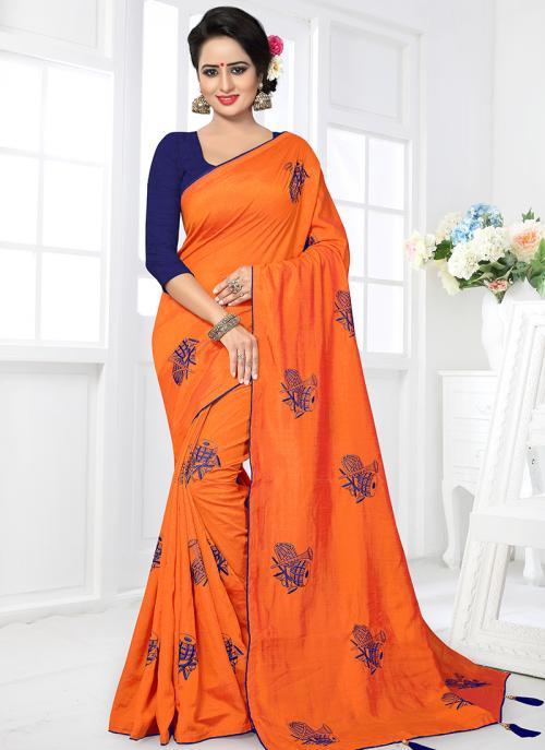 Regular Wear Orange Satin Silk Lace Work Saree